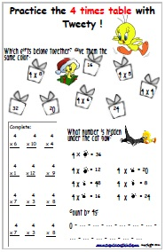 Times Tables for kids - 4 Times Table Sheets