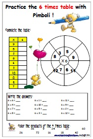6-times table worksheet